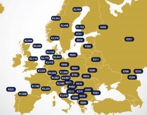 מפת משכורת ממוצעת באירופה